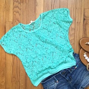 Iris Los Angeles Size S Green Lace Top-Guc